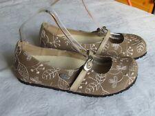 NEW Papillio By Birkenstock Ladies Tan Brown Cream Ballerina Shoes Size 5 EU 38
