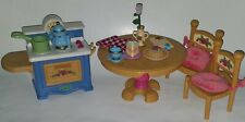 Fisher Price Briarberry Kitchen Lot Table 2 Chairs Stove Food Dishes Vase Flower