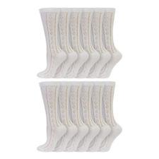 Kids Girls 12 Pack Cotton Rich White Traditional Pelerine School Socks Age 1-11+
