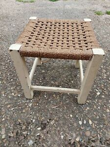 Retro Vintage Painted Wooden Woven Rattan Seat Stool, Footstool, Wicker