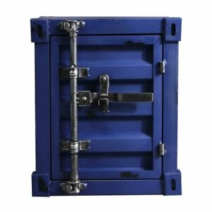 INDUSTRIAL BEDSIDE CABINET METAL STORAGE TOOLS BOX CONTAINER GARAGE VINTAGE BLUE