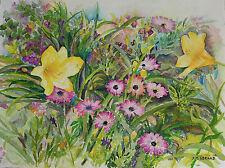 Painter Suzanne Obrand, Holocaust Survivor, Watercolor Painting Flowering Garden