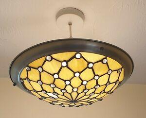 Vintage Tiffany Style Uplighter Ceiling Light Shade Hanging Gold Tone Rim