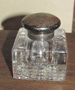 antique cut crystal inkwell sterling silver top carved design flowers & leaves