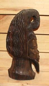 Vintage hand carving wood man head figurine