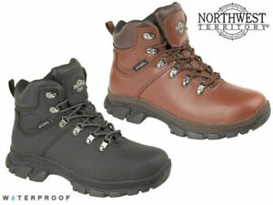 Mens Waterproof Hiking Boots Northwest Territory Leather Lace Up Walking Shoes