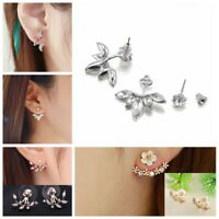 Fashion Women Elegant Crystal Rhinestone Ear Stud Earrings Double Side Jewelry