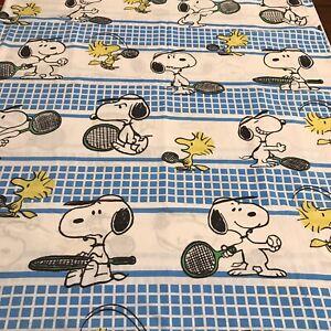 Vtg Snoopy Peanuts TWIN Flat Sheet Woodstock Sports Tennis Fabric Bedding Muslin