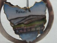 Rare Australian solid silver enamel hatpin with early picture of Hobart Tasmania