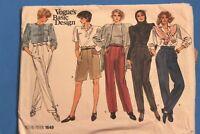 VOGUE 1980's-90's Sewing Pattern 1649 CUT Misses 12-16 Slacks Pants Trousers VTG
