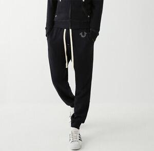 New Mens True Religion Slim Fit Cuffed Joggers Black MAOH023MF4 Sale Sale!!!!!