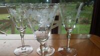 Vintage Etched Wine Glasses Water goblets Wheel cut floral design 4 8oz elegant