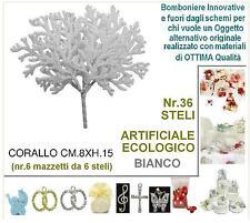 BUSTA N.36 RAMI RAMETTI H.15 CORALLO BIANCO ECOLOGICO da BOMBONIERA SEGNAPOSTO