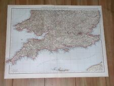 1893 ORIGINAL ANTIQUE LARGE MAP OF ENGLAND CORNWALL LONDON DEVON SUSSEX KENT