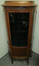 FINE FRENCH WALNUT PARQUETRY INLAID CURVED GLASS ANTIQUE VITRINE - CHINA CABINET