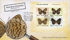 Niue 2013 FDC Blue Butterfly 4v Sht Cover Butterflies Nacaduba Niueensis Insects