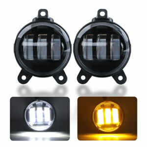 2X 3.5 inch 30W LED Driving Fog Lights Round Lamp Amber White for Lada Priora