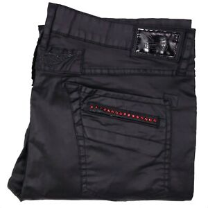 Robins Jean Mens 40x35 Black Rhinestone Studded Tencel Cotton Size Motard DY5475
