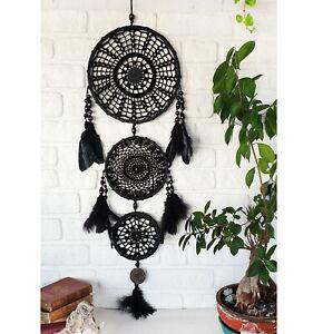 Black big three circle black feathers wall decor dream catcher