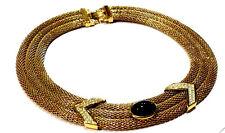 Bijou collier Lanvin Germany alliage doré strass et cabochon noir necklace