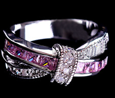 Ring 9ct White Gold filled Pink Sapphire Modern Eternity size N Gift Summer