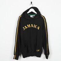 Vintage 90s PUMA Jamaica Spell Out Logo Hoodie Sweatshirt Black   XS