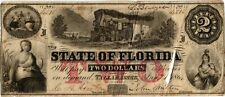 1864 $2.00 State Of Florida Obsolete Currency - Cr# 39 - Tallahassee - Vf- Holed