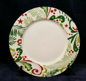 """Crate and Barrel Christmas Porcelain Plate 10 1/2"""""""
