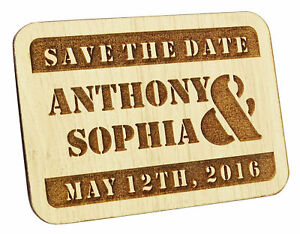 25 Custom Engraved Wooden Magnet Rustic Wedding Save the Date Wooden Magnet-MG2