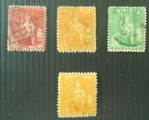 Classic Trinidad mini-collection 4 stamps, 1p, 6p, 2 x 1sh, used