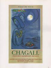 """1989 VINTAGE """"CHAGALL PEINTURES AQUARELLES"""" MOURLOT MINI POSTER COLOR Lithograph"""