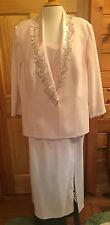 KAREN MILLER 20 Long Pink Mother of Bride Groom GOWN with Beaded JACKET  MOB USA