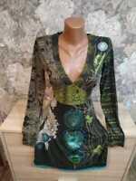 Desigual women's dress size S khaki green color