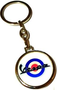 VESPA WHITE BLUE DOUBLE SIDED LOGO Metal Silver Keyring Keychain Moto Scooter
