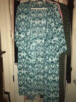 LuLaRoe Shirley Cover Up Size L Turquoise Aqua White Kimono Large
