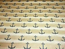 Anchors Nautical Navy Anchors on Beige Cotton Fabric BTY