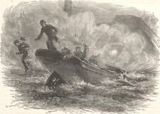 MILITARIA. Civil War. Lt Cushing attacks Albemarle c1880 old antique print