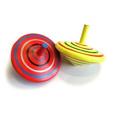 2 x WOODEN SPINNING TOP TOY BOY GIRL TRADITIONAL GIFT BIRTHDAY PARTY BAG FILLER