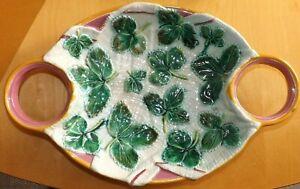 Victorian George Jones Majolica Strawberry Dish With 2 x Cream Holders c1870