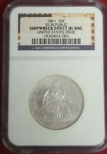 1861 50 Cents Seated Liberty Half Dollar SS Republic Ship Wreck Effect (B)