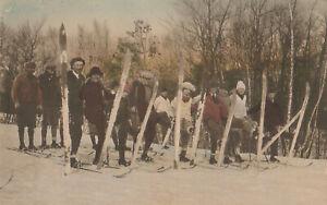 S21 1688 Vintage Colorized Postcard Skiing on Pocono Manor PA Golf Course 1936