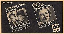 Kbhk Tv Ad~Twilight Zone~Night Gallery~Patty Duke~Jonathan Winters~Rod Serling