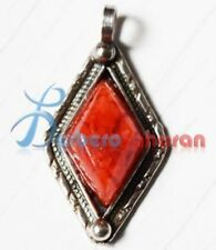 and Mediterranean red coral from K Handmade simple Diamond shaped in pure silver