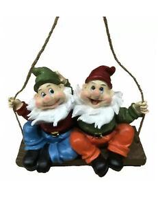 Gnome On Swing Statue Figurine Garden Ornament 28 cm