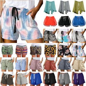 Lady Elastic Waist Drawstring Hot Pants Summer Beach Holiday Casual Mini Shorts