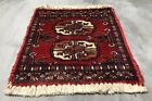 Hand knotted Vintage Pakistan Bokhara Jhaldar Wool Area Rug 1 x 1 Ft (3789 KBN)