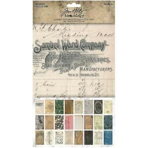 Tim Holtz ~ BACKDROPS ~ Volume #1 ~ Idea-ology 6x10 Papers