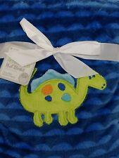 NWT Le Bebe Favorite Baby Blanket Blue Dinosaur Fleece le be'be'