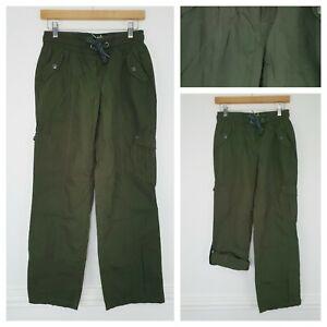❤️PINEAPPLE for DEBENHAMS khaki cargo cropped trousers size 8 1089