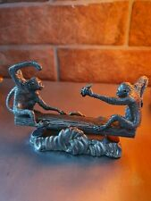 Vintage ROYAL SELANGOR PEWTER  Two Funny Monkeys on See-Saw Fighting